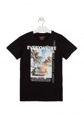 camiseta manga corta con estampado Losan para niño modelo 113-1033AL