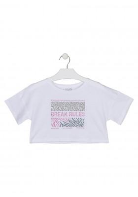 camiseta manga corta con estampado Losan para niña modelo 114-1025AL