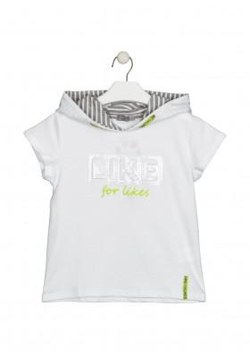 camiseta manga corta con capucha Losan para niña modelo 114-1016AL