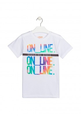 camiseta manga corta con estampado Losan para niño modelo 113-1039AL