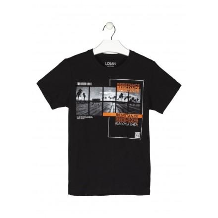 camiseta de manga corta con print Losan para niño modelo 113-1011AL