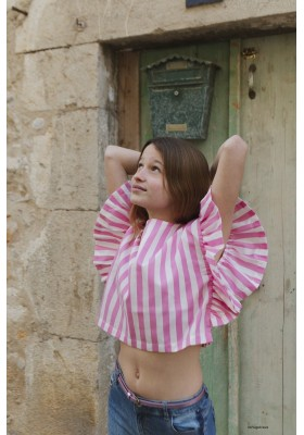 Bluson rayas volantes Mayoral para niña modelo 6185