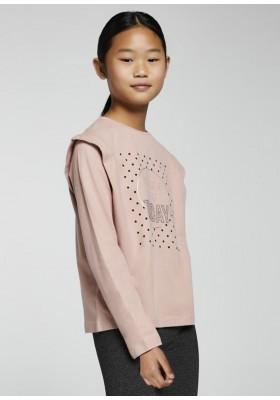 Camiseta manga larga pliegue hombro de Mayoral para niña modelo 7093