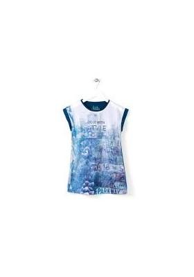 Vestido manga corta LOSAN estampado - 614-7010AB