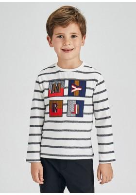 Camiseta manga larga rayas apliques de Mayoral para niño modelo 4085