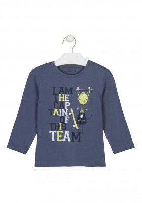 camiseta manga larga con print Losan para niño modelo 125-1635AL
