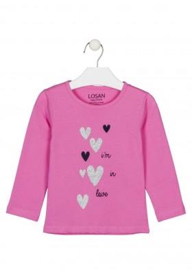 camiseta de manga larga con print Losan para niña modelo 126-1632AL