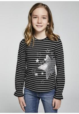 Camiseta manga larga rayas lurex de Mayoral para niña modelo 7081