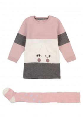 conjunto de vestido y leotardo Losan para niña modelo 126-8059AL