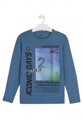 camiseta de manga larga con print Losan para niño modelo 123-1208AL