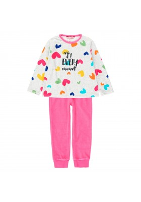 Pijama terciopelo corazones de niña Boboli modelo 923004
