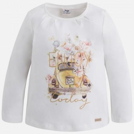 "Camiseta  manga larga  MAYORAL niña  ""coche"""