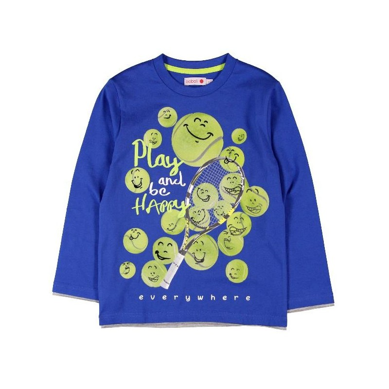 4442608f6 Camiseta manga larga BOBOLI punto liso de niño - tortugablava