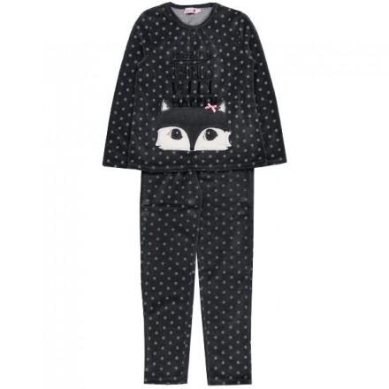 Pijama BOBOLI niña terciopelo estampado topos