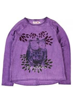 """Camiseta BOBOLI niña punto elástico """"Buho"""" color lila"""