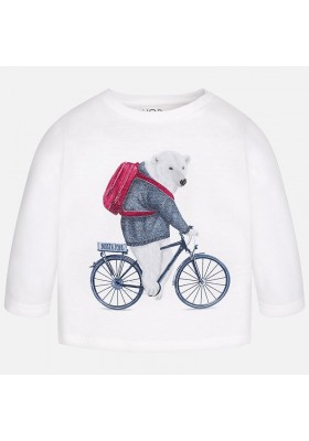 "Camiseta manga larga MAYORAL bebe niño ""oso con bicicleta"""