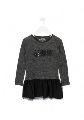 Vestido LOSAN niña combinado de felpa y tul en color negro