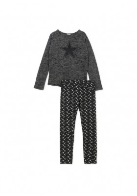 Conjunto LOSAN niña de camiseta con parche de estrella y legging de estrellas