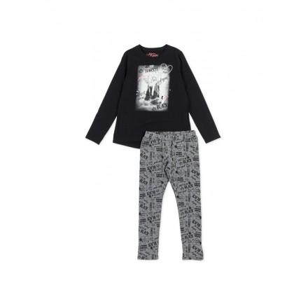 Conjunto LOSAN niña de camiseta en color negro y legging de felpa