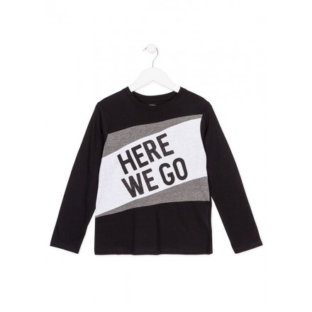 "Camiseta manga larga LOSAN niño ""here we go"" negro"