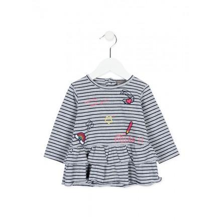 """Vestido manga larga LOSAN bebe niña de algodón a rayas """"nice to meet you"""" gris"""