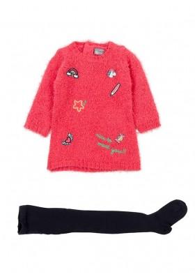 Conjunto de vestido de tricotosa LOSAN bebe niña y leotardo