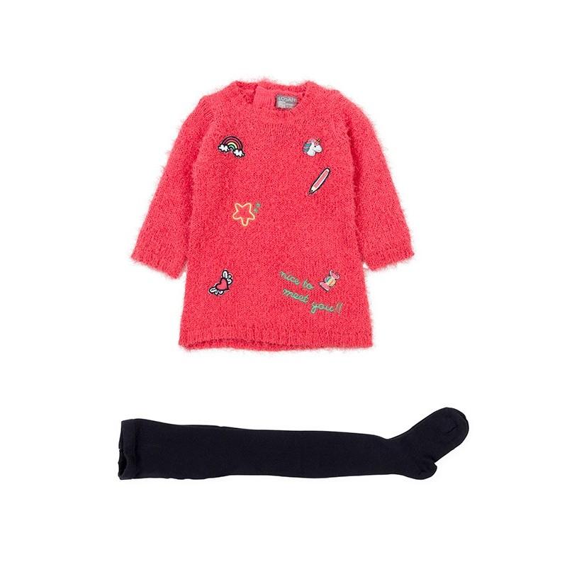 1c29fd24f7ae4 Conjunto de vestido de tricotosa LOSAN bebe niña y leotardo ...