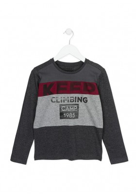 Camiseta manga larga LOSAN niño de color gris marengo vigoré con estampado
