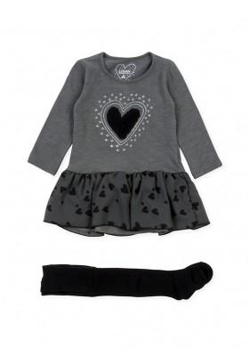 Conjunto LOSAN niña de vestido con parche en el pecho y leotardo