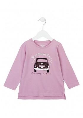 Camiseta manga larga LOSAN niña en color lavanda con estampado en el pecho