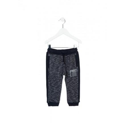 Pantalón chandal LOSAN niño en color azul vigoré en felpa y piezas laterales