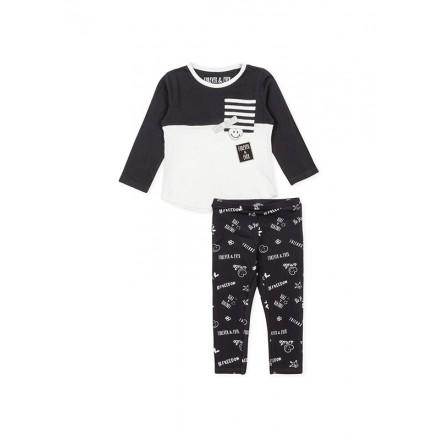 Conjunto LOSAN niña de camiseta en dos piezas y legging con estampado