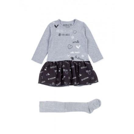 Conjunto de vestido LOSAN niña con falda simulada