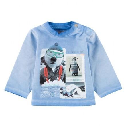 """Camiseta manga larga BOBOLI bebe niño """"antartic"""" azul"""