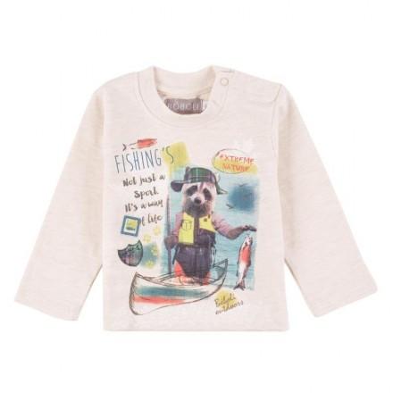 """Camiseta manga larga BOBOLI bebe niño """"fishing's"""" color beig"""