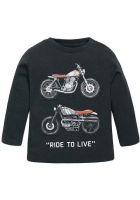"Camiseta manga larga MAYORAL bebe niño ""motos"" grafito"