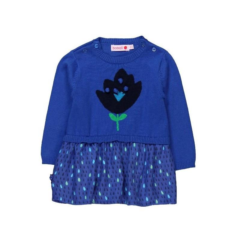 95d90a9ffc908 Vestido tricotosa combinado de BOBOLI bebé niña - tortugablava