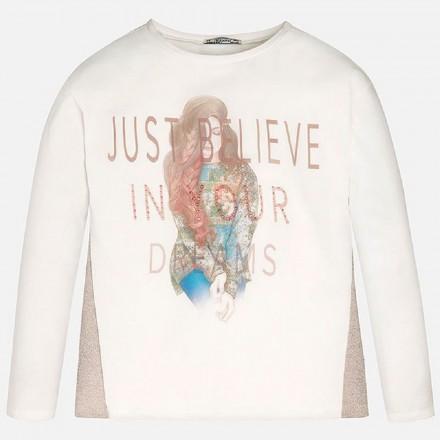 """Camiseta manga larga MAYORAL niña """"just believe"""" color maquillaje"""