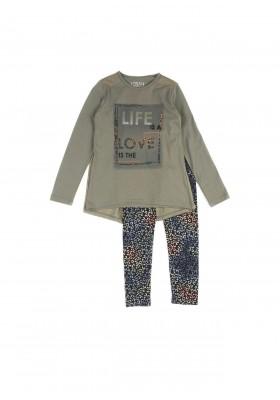 """Conjunto LOSAN niña camiseta """"live"""" verde y legging estampado"""