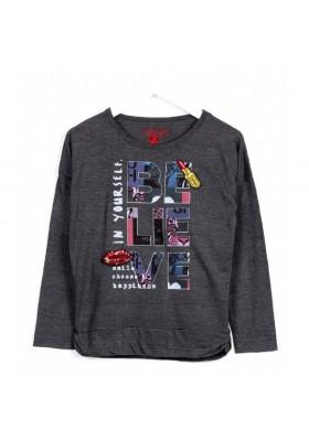 """Camiseta manga larga LOSAN niña  """"believe"""" gris"""