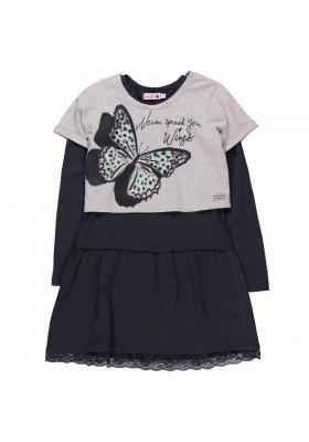 "Vestido punto BOBOLI combinado de niña con ""mariposa"""