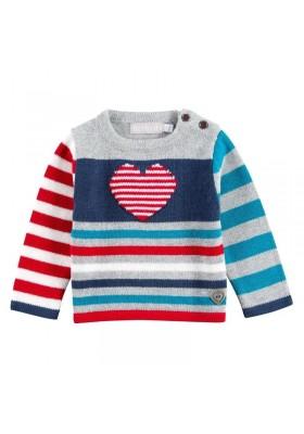 """Jersey BOBOLI bebe niña """"corazon"""" rojo y azul"""