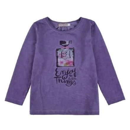 Camiseta manga larga BOBOLI niña de punto elástico de color lila