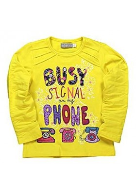 Camiseta manga larga BOBOLI niña de punto elástico color amarillo