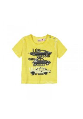 """Camiseta  manga corta punto flamé BOBOLI de bebé niño """"coches"""""""