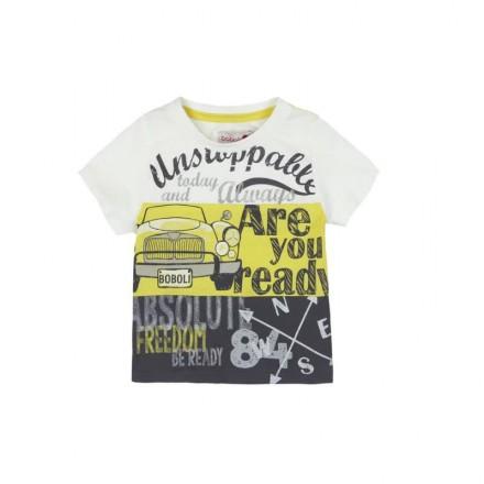 "Camiseta  manga corta punto liso BOBOLI de bebé niño ""coches"""