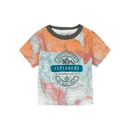 """Camiseta manga corta punto liso BOBOLI de bebé niño """"mapa"""""""