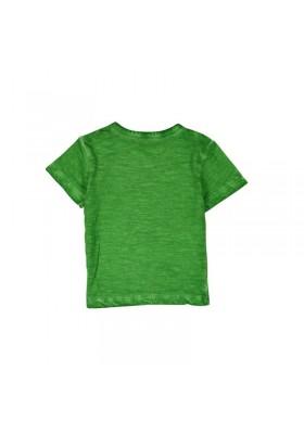 """Camiseta  manga corta punto flamé BOBOLI de bebé niño """"loro"""""""