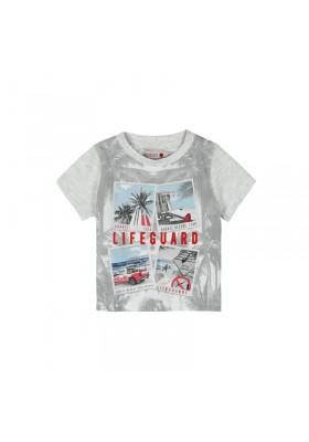 """Camiseta manga corta punto liso BOBOLI de bebé niño """"palmeras"""""""