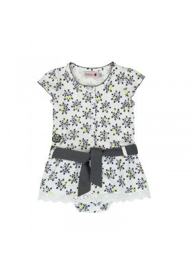 Vestido manga corta punto BOBOLI de bebé niña blanco y gris